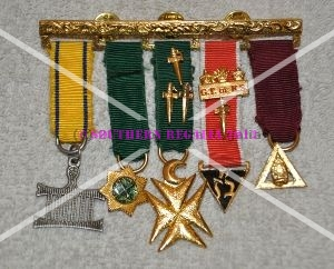 Allied Masonic Degree - 5 Bar Miniature Jewel Set